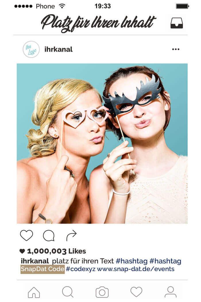 SnapDat Instagram Style Layout Firmenfeier Fotospiegel