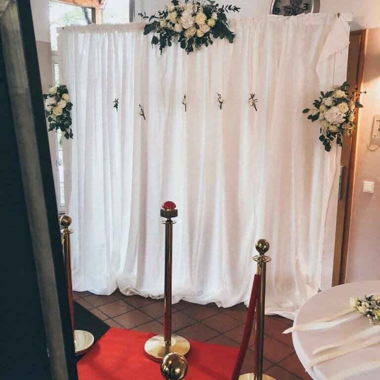 SnapDat Fotospiegel Magic Mirror auf einer Hochzeit Rückwand